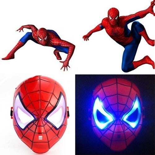 Spiderman Mask with LED Light Children Cosplay Props Kids Toy Halloween Party Dress Up Mask
