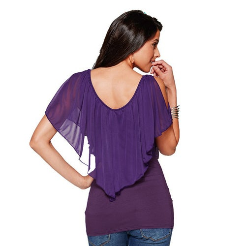 37f95007af08c Sexy Women Blouse V Neck Cold Shoulder Ruffles Sleeveless Solid T-Shirt  Vest Tank Summer Casual Tops. 1 5