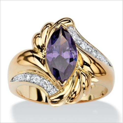 Yellow Gold Plated Marquise Cut Purple Center CZ Classic Style Ring