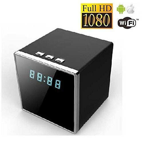 HD 1080PWifi P2P 1080P Square Shape IR Night Vision Hidden Motion Detection Spy Camera Clock 140 Degree