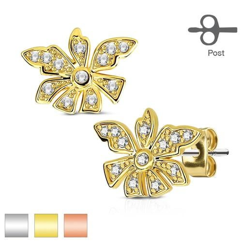 Pair of Micro Pave CZ Flower 316L Surgical Steel Post Earring Studs