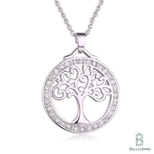 18K White Gold Plated and Swarovski Elements Tree Of Life Pendant Necklace