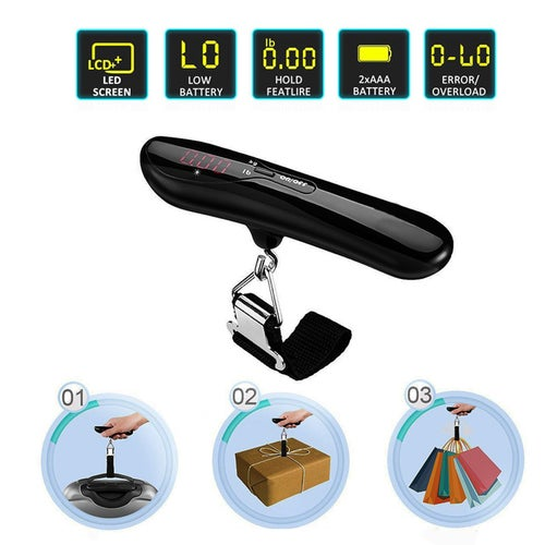 Digital Luggage Scale Electronic Balance Luggage Hanging Scale with High Precision Sensor Protections for Travel Baggage Measure