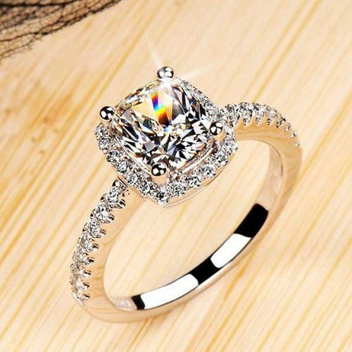 White Gold Plated Micro Pave Set Halo 5A CZ Ring