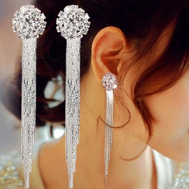3CTW Genuine Crystal Hand Inlaid Tassel Earring In White Gold Filled