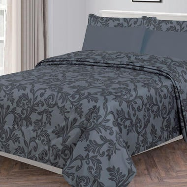 6 Piece: KANDALL Printed Lux Decor Bed Sheet Set - Brushed 1800 Bedding - Wrinkl