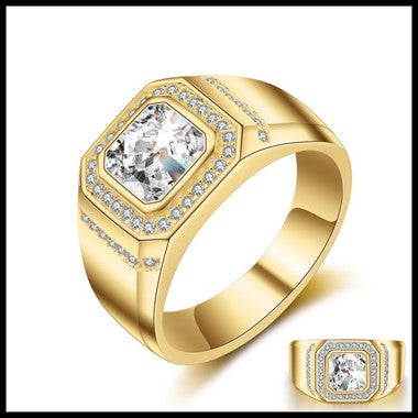 Men ring 2ct 5A Zircon Cz Yellow Gold Filled male Emgagement Wedding Band Ring f