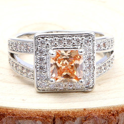 Exquisite Morganite & White Sapphires Sterling Silver 925 Ring