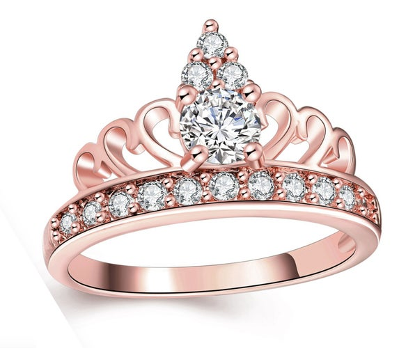 Crown Ring Tiara Ring Princess Rose Gold AAA CZ Women Wedding Ring Chrismas Gift #687