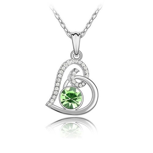 18kt White Gold Plated Green Solitaire Heart Necklace