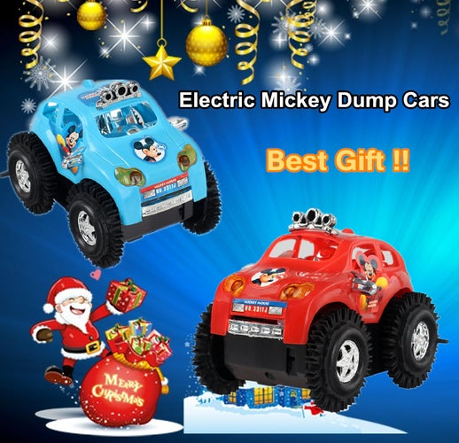 Electric Cars Rapid Dump Trucks Kids Mickey Dumpers Puzzle Cars For Children