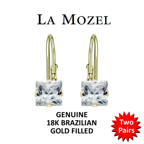 2 Pairs: Handcrafted 18K Brazilian Gold Filled Leverback Princess Cut Earrings