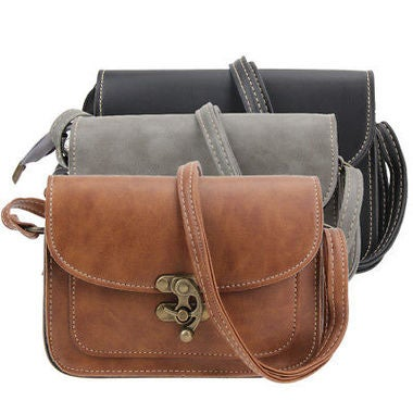Fashion Women PU Leather Vintage Mini Lock Flip Shoulder Bag Crossbody Bag