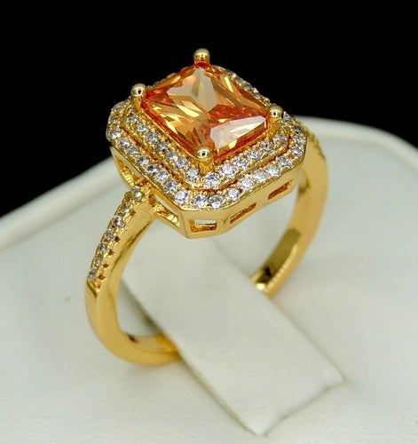 Brilliant champagne emerald cut ring Yellow Gold Filled