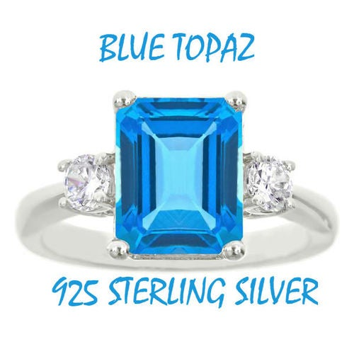 Sterling Silver Genuine Lab Created Blue Topaz Princess Cut Stone Solitaire Ring