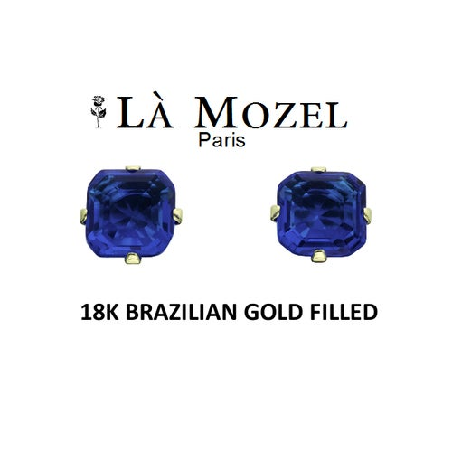Handcrafted 18K Brazilian Gold Filled Tanzanite Asscher-Cut Stud Earrings