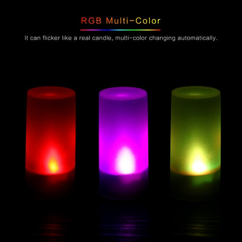 Flickering Blow Activated LED Candle Light Multi-color Colorful Flameless Tea Lights Smokeless Shake/Blow to Turn ON/OFF with Shell