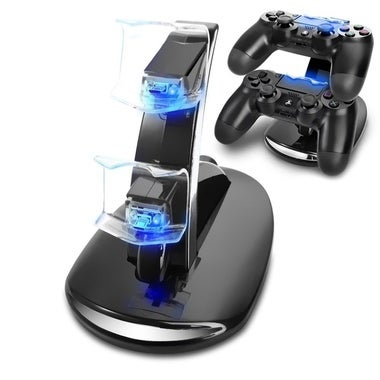 Leegoal Dual USB Charging Charger Docking Station Stand for PS4 Controller(Black
