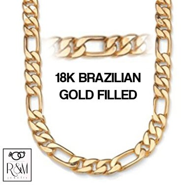 18K Gold Filled Thick Figaro Chain 24