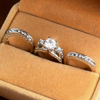 3pcs of 1 set  AAA Zircon Wedding Ring set