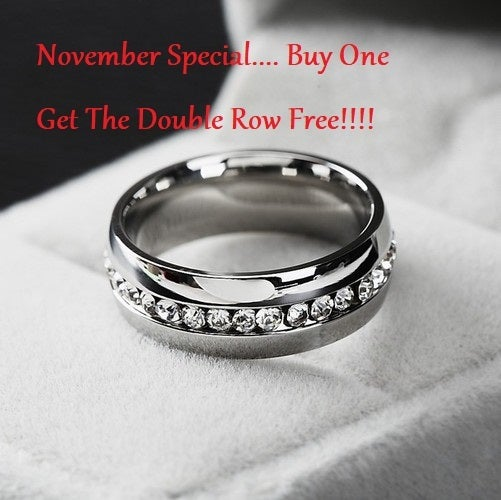 BOGO Special... BUY ONE GET one for $5 !!!! Stainless steel AAA crystal ring size 4-13