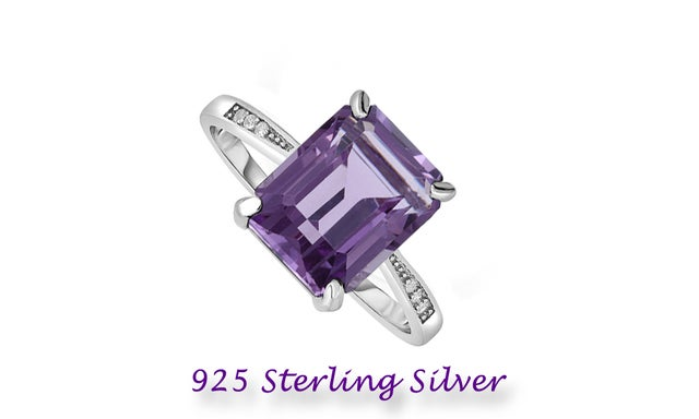Amazing Unique .925 Sterling Silver Ring W/Solitaire Emerald Cut Ametyst Stone