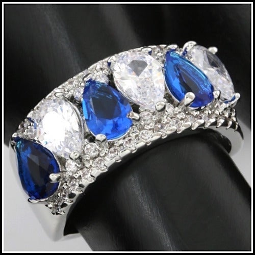 3.60ctw 14k White Gold Filled, Beautifully Created Fine Blue & White Sapphire Ring