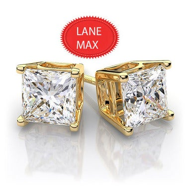 Genuine 14K Yellow Gold 2.00 ct Princess Cut Solitaire Stud Earrings