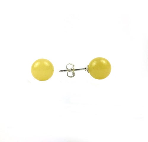 Sterling Silver Genuine Yellow Studs Jade Earring