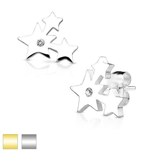Three Cluster Stars with Crystal 316L Stainless Steel Earring Studs Pair
