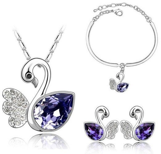 Black Friday Deal...Buy one get one for $9!!!! 18K WGP Swan necklace, earrings, and bracelet set.  Comes in 4 colors