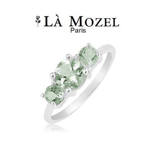 18KT White Gold Over Brass 2.25 Carat Total Weight Rich Excellent Cut Green 3-Stone Ring