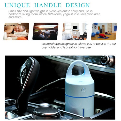 Multi-function Mini 175ml USB Air Humidifier Cup Shape Ultrasonic Aroma Diffuser Air Purifier Cool Mist Nebulizer with Coloful LED Light for Home Car Office Travel