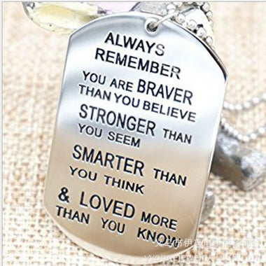 Stainless steel Lettering Military brand Necklace Always remember Necklace Frie