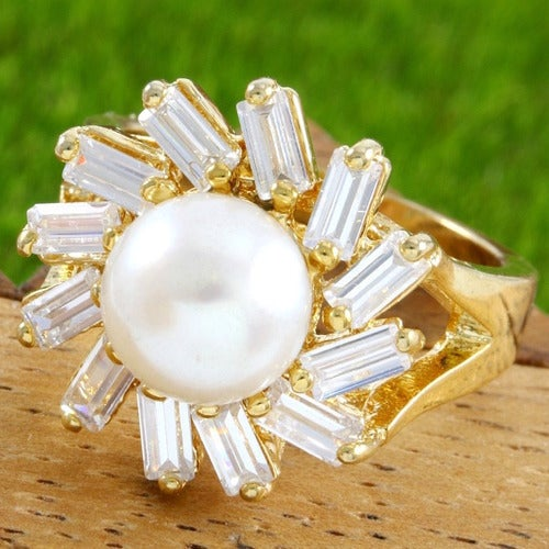 1.75ctw 14k Yellow Filled, Beautifully Created Fresh Water Pearl and White Sapphire Ring