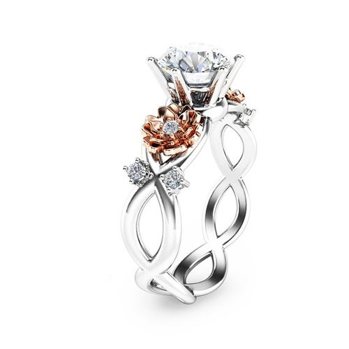 Two Tone Flower CZ Ring #TH528
