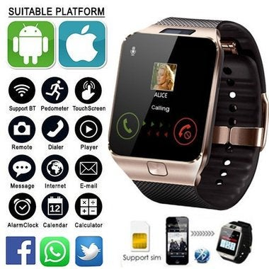 Smart Watch With HD Camera SIM&Memory Card Slot for iPhone & Android Smartphones