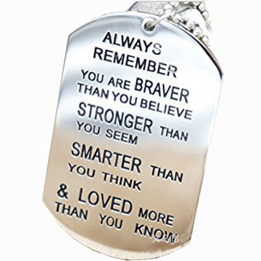 HAW Christmas Friendship Necklace Stainless steel Lettering Military Tag Always