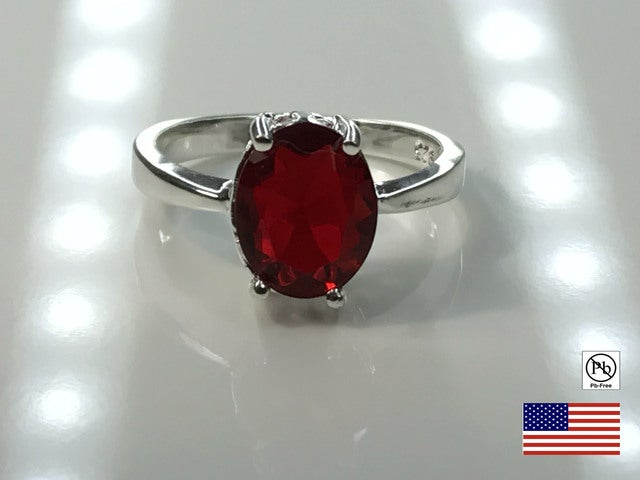 A Beautiful Red on Silver Overlay Ring. Size 7, 8 or 9.