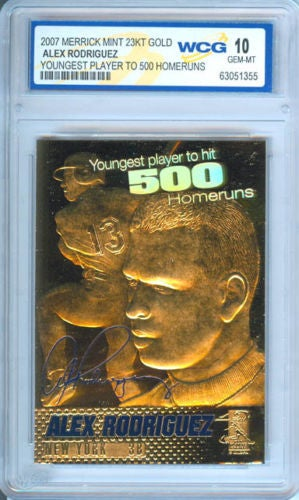 ALEX RODRIGUEZ *500 Homeruns* 2007 23KT Gold Card Sculpted - Graded GEM MINT 10