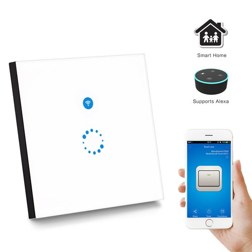 Sonoff Touch Wi-Fi Switch 1 Gang 1 Way Wireless Intelligence Wall Switches Support Timing and Remote Control Via APP Work with Alexa Google Home EU Standard