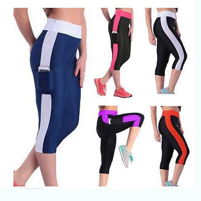 f981d79feab2e Women Cropped Trousers Elastic Yoga Tights Running C... | Tophatter