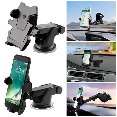 Adjustable Long Arm Car Phone Holder Stand on Windshield Console One Press Clip/Release Phone for iPhone SE 5S 6S Plus Samsung S7 GPS