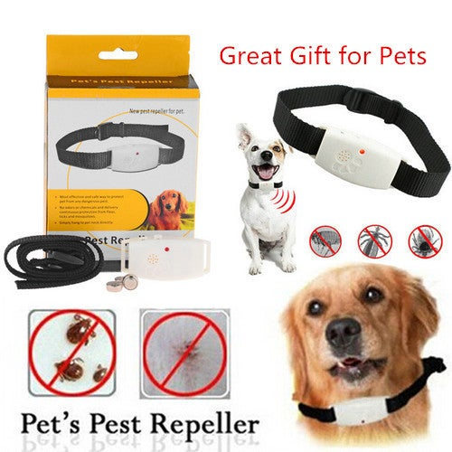 Dog Collar Pest Repeller – Deters Pests Mosquitos Ticks and Fleas with Ultrasonic LED Indicator