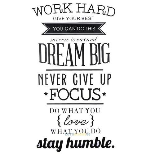 Wall Decals Quotes Work Hard Vinyl Wall Sticker Deco Tophatter