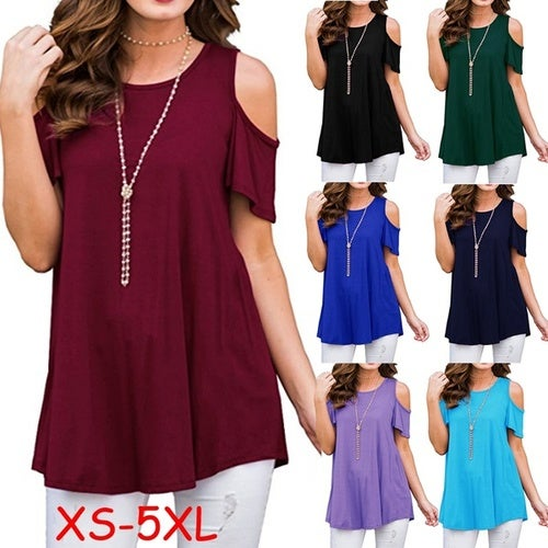 36a26b0c094 XS-5XL Women s Fashion Summer Solid Color O-Neck Col...