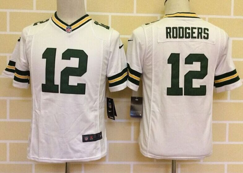 Youth Green Bay Packers #12 rodgers white Jersey