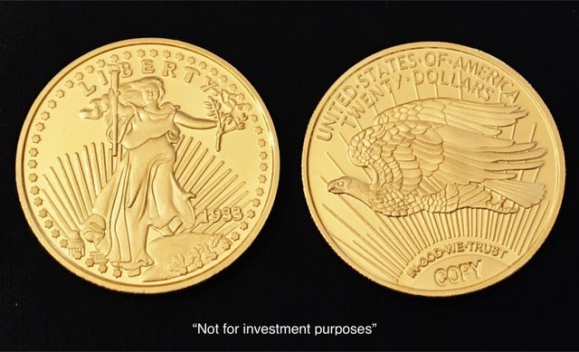 Copy 1933 $20 Gold Double Eagle. Minted In 24 Kt Gold Clad. (One of Worlds Most Rare Coins)