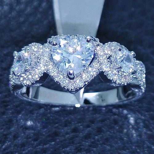 Jewelry B47 Womens White Gold Filled CZ Ring
