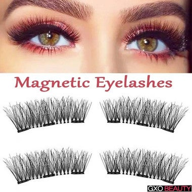 4PCS/Set 6D Thicker Cross Reusable Double Magnetic Eyelashes Handmade Cilios No